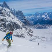 Snowboard hors-piste dans le Val Veny